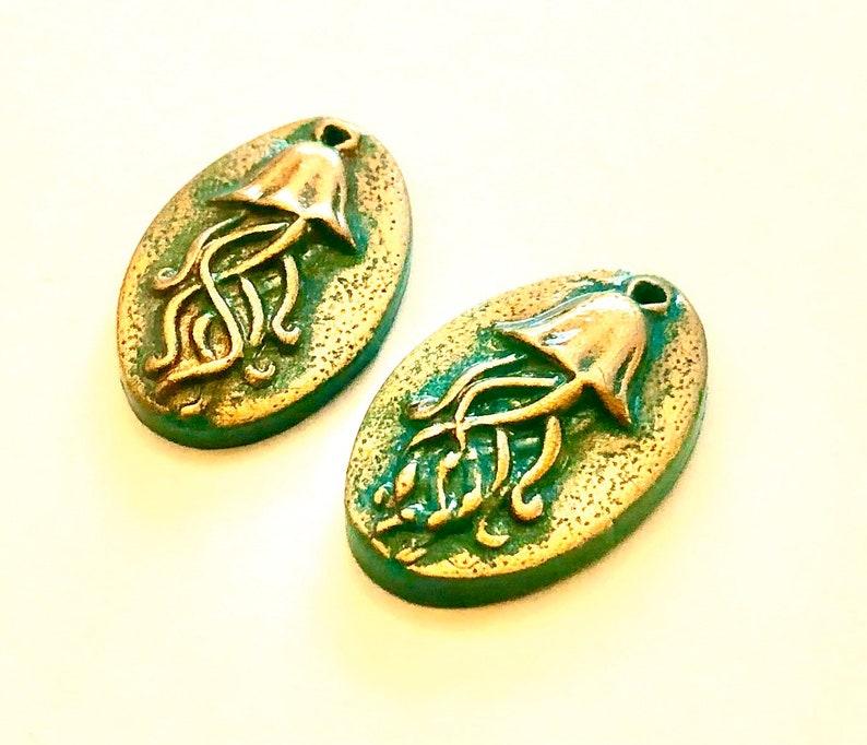 Handmade Jellyfish Beads Turquoise Bronze Polymer Clay Jellyfish Beads