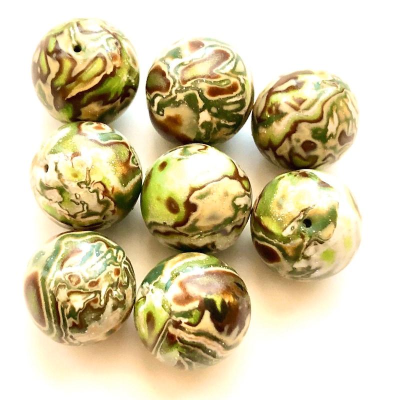 Handmade Polymer Clay Beads Earth Mokume Gane Round 18 MM Artisan Focal Beads