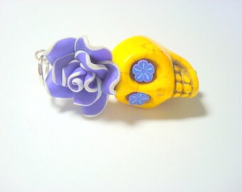 Large Yellow and Purple Sugar Skull Rose Day of the Dead Pendant or Ornament