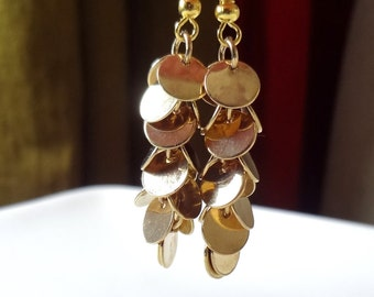 Gold  Cluster Earrings, Gold Earrings, Dangle Earrings