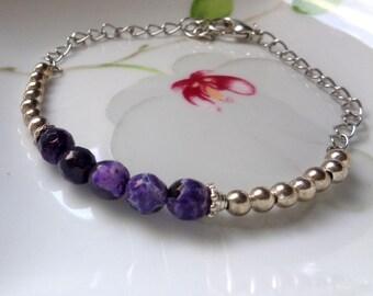 Amethyst Bracelet, Stone Bracelet, Purple Stone Bracelet, Bracelet, Gemstone Bracelet