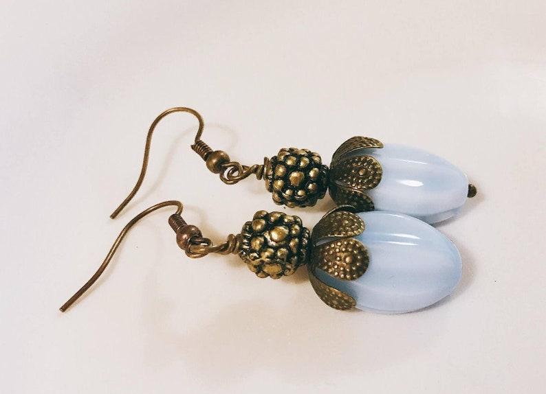 Milky Blue Glass Earrings glass Bead Earrings Oval dangle earrings brass earrings bronze earrings Blue Oval Glass Earrings