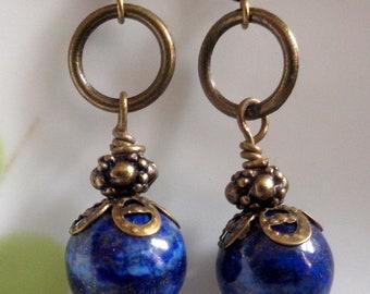 Lapis Lazuli Earrings, Lapis  Earrings,Blue Earrings,Deep Blue Earrings Bohemian Earrings Boho Earrings TLong Earrings Dangle Earrings Gift