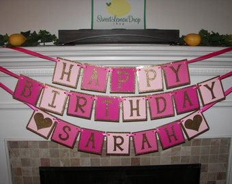 pink gold birthday glitter ombre Happy Birthday Banner with Custom Name - 1st Birthday - First