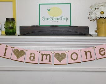 pink gold birthday decorations I AM ONE decor highchair banner smash cake first 1st