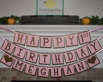 pink gold 1st birthday custom name - Happy 1st Birthday Banner - First Birthday