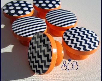 Chevron Knobs • Navy Pattern Knobs • Stripe Drawer Pulls • Polka Dot Knobs • Navy and Orange Nursery Knobs • Made-to-Order