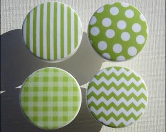 Dresser Knobs - Drawer Knobs - Lime Green  - Drawer Pulls - Chevron - Stripes - Gingham - Polka Dots