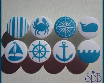 Nautical Knobs • Kids Dresser Knobs • Nautical Stripe • Turquoise • White • Anchor • Sailboat • Wood Knobs • Whale