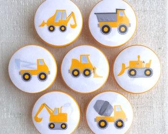 Construction Knobs • Dresser Drawer Knobs • Drawer Pulls • Dump Truck • Cement Truck Knobs • Wood Knobs - 1-1/2 Inches