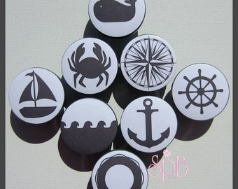 Grey Nautical Knobs • Anchor • Sailboat • Helm • Waves • Whale Knobs • Baby Nursery • Dresser Knobs • Drawer Knobs