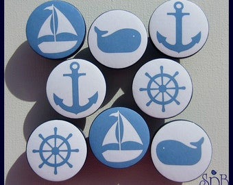 Nautical Knobs • Sailboat • Whale • Nautical Drawer Knobs • Anchor • Helm • Navy • Baby Blue • Dresser Drawer Knobs