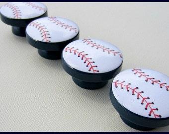 Baseball Knobs • Sports • Navy Base • Sports Theme Knobs • Boys Drawer Knobs • Dresser Knobs