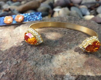 Annamarie Swarovski Cuff Bracelet - Australian Pink and Brass