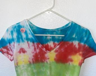Hand Dyed Tie Dye V-Neck Crop Top