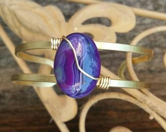 Purple Agate double banded brass cuff bracelet