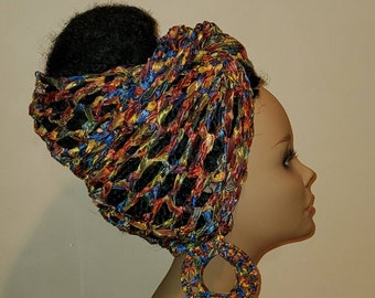 ThE MAkEEDA HEaDWRAP and Earring Set-LiMiTeD Edition in Copper Rainbow