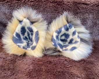 Faux Fur Clip On Costume Ears Leopard Print