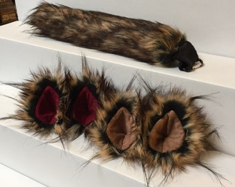 Clip On Costume Ears Spotted Lynx Faux Fur