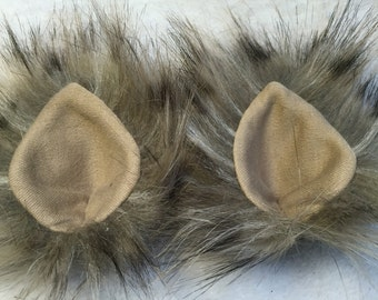 Faux Fur Clip On Costume Ears Brown Leopard Print Colored