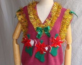 Ugly Christmas Sweater Vest with Ornament Headband Christmas Stocking Unisex Mens Ugly Sweater Party Tacky Free Shipping Womens Sz Large