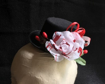 Bloody Rose Top Hat Halloween Rose Hat Costume Accessory Lolita Cosplay Dia de los Meurtos Flower Headpiece