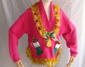 Ugly Christmas Sweater with Headband Christmas Stocking Ornaments Womens Ugly Sweater Party Tacky Christmas Free Shipping Womens Size Large