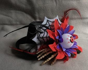 Feather Top Hat Steampunk Hat Halloween Hat Costume Headpiece Costume Accessory Womens Spider Web Hat Eyeball Skeleton