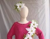 Ugly Christmas Sweater with Headband Poinsettia Flower Women Ugly Sweater Party Tacky Christmas Free Shipping Ugly Headband Womens Sz Medium