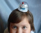 Snowglobe Headband Cupcake Headband Hair Accessory Snow Holiday Hair Fascinator Snow Winter Headband Girls Gift Womens Xmas Sprinkles