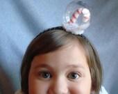 Snowglobe Headband Candy Cane Headband Hair Accessory Snow Holiday Hair Fascinator Candy Stripes Snow Winter Headband Girls Gift Womens Xmas