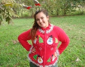 Ugly Christmas Sweater with Headband Snowman Cardigan Womens Ugly Sweater Party Tacky Christmas Fast Shipping Snowball Womens Size Large