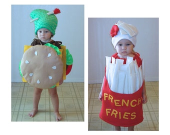 Baby Hallween Costumes Twin Costumes Matching Costumes Cheeseburger Hamburger Burger French Fries Fry Fast Food Infant Toddler Boy Girl  sc 1 st  Etsy & Baby Costume Cheeseburger Hamburger Halloween Costume Dress Up | Etsy
