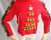 Ugly Christmas Sweater with Headband Christmas Tree Turtleneck Women Ugly Sweater Party Tacky Christmas Fast Free Shipping Womens Size Small