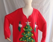 Ugly Christmas Sweater with Headband Christmas Tree Women Stockings Presents Tacky Free Shipping Fast Shipping Presents Womens Size 3X