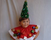 Pre-Order- Ugly Christmas Cape Tree Skirt Tree Headband Holiday Ugly Sweater Party Tacky XMas Presents Poncho One Size Fits All- Kids Adults