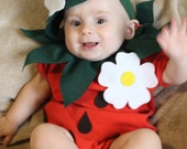 Baby DIY Strawberry  Do It Yourself Baby Costume  Halloween Costume  Strawberry Costume