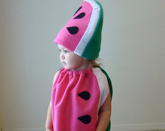 Ready To Ship!  3-6 month size... Watermelon Costume with Hat... Baby Costume... Halloween Costume.. Fruit Costume... Baby Girl Halloween