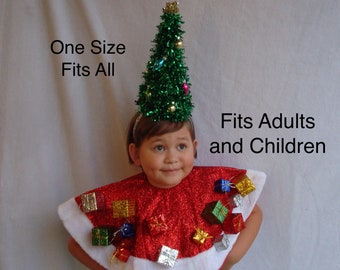PRE-ORDER Will Ship 11/1/21.. Ugly Christmas Cape Tree Skirt -One Size Fits All- Tree Headband Holiday Ugly Sweater Party Tacky Sweater Ugly