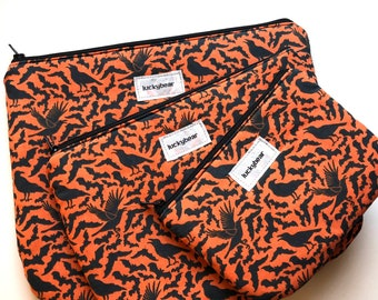 Orange bats & crows pouch - available in 3 sizes