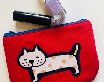 Zip pouch - red with spotty cat