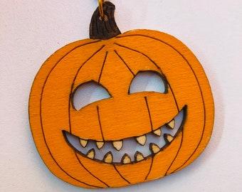 Necklace - Halloween pumpkin wooden pendant necklace