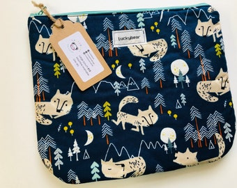 Large wolf/forest print zip pouch