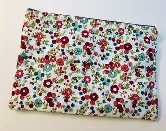 Large floral zip pouch