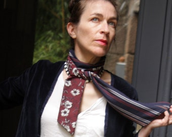 Ascot tie, Brown-blue flower and stripe Navy cotton and Viscose scarf.
