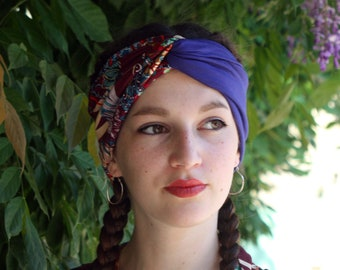 Headband Turban headband bicolor blue and Maroon floral motifs and birds. Retro Turban hair