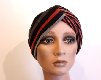 Black-orange-grey striped retro turban headband in Jersey. Hair accessories. Creation headband Tartine de Laine