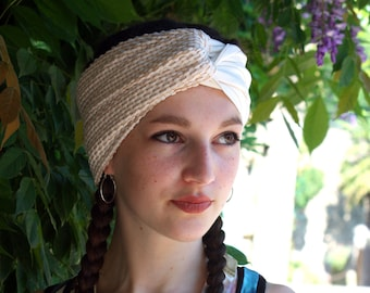 Headband-headband-Turban ecru-Beige waffle Lycra. Retro off white Turban hair. Vintage style hair