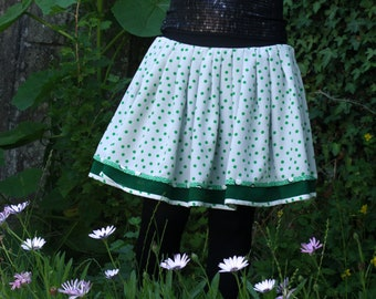 Skirt Retro Rockabilly white and green dots. Original Fifties design skirt. Pleated skirt