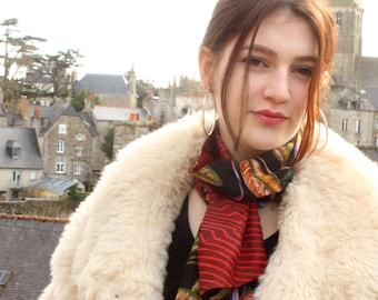 Scarf, Lavallière, Tie Woman, Orange brick in crepon and flowers birds paradise. Woolen tartine